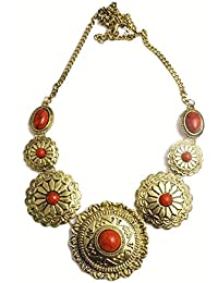 Hilore Gypsy Vintage Inspired Tarquoise & Golden Necklace For Girls & Womens