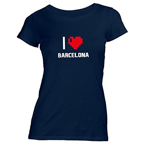 Damen T-Shirt - I Love Barcelona - Spanien Reisen Herz Heart Pixel Navy