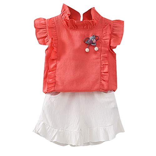 JUTOO Kleinkind Kinder Baby Mädchen gekräuselte T-Shirt Tops + Shorts Outfit Sets Sommer 2tlg Set (Orange ()