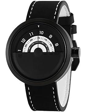 Shark Herren Armbanduhr Plattenspieler Design Uhr Weiß Schwarz Drehteller Zifferblatt Leder Band SH424