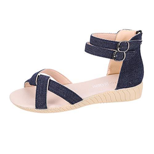 RYTECFES Sandalen Damen Sommer Flache rutschfest Strand Schuhe Geflochtene Peep Toe Flip Flops Sandale Bequeme Korkfußbett Römische Sandalen Sommersandalen