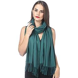 Haojing Unisex Mujer Bufanda, Mujer invierno lujosa ligera y suave Chales Estolas Fulares Bufanda, Pañuelo caliente para ocio y negocios Verde
