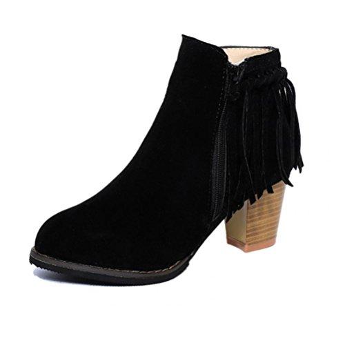 QPYC Alti Tacchi da donna Stivali in nappa di chiusura lampo Stivali corti Stivali impermeabili femminili della piattaforma Nero black