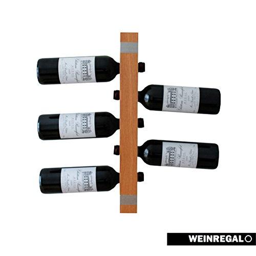 WEINREGALO MINI - Eiche | Das moderne Design Weinregal/ Flaschenregal aus Holz für Ihre Wand (Flaschenregal für 5 Weinflaschen, 52 x 5 x 5 cm, dekorativ für Wohnzimmer oder Küche)
