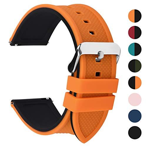 Fullmosa Silikon Uhrenarmband 24mm mit Schnellverschluss in 8 Farben, Regenbogen Weich Silikon Uhrenarmband mit Edelstahlschnalle,24mm Kürbisorange+schwarz