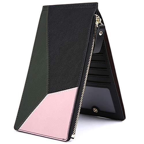 Damen Groß Leder Geldbörse KOGOLIKE Frauen RFID-Schutz Geldbeutel Kreditkarteninhaber Reißverschluss Lange Portemonnaie (Schwarz Grün) - Button Zip Wallet