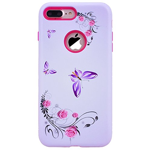 WE LOVE CASE Coque iPhone 7 Plus, Coque de Protection en Premium Hard Plastique Mince Clair Dur Coque iPhone 7 Plus Anti Choc Bumper, Anti-Rayures Anti-dérapante Coque Apple iPhone 7 Plus Crâne Fleur De Papillon