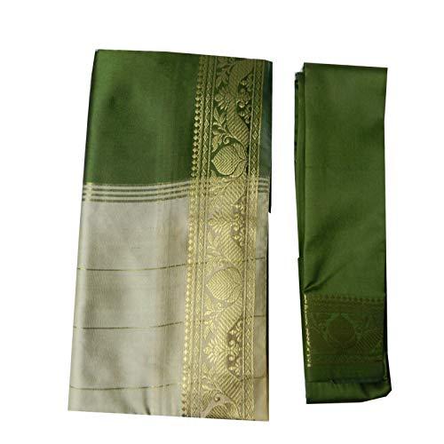 (indischerbasar.de Brokat Sari beige olivgrün Goldbrokat Indien Tracht Bindi Ohrhänger Wickelkleid Polyester)