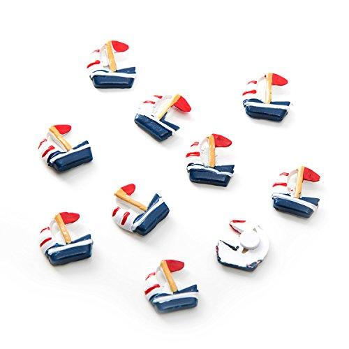 EU-Deko Segel-Boote Segel-SCHIFFE mit Klebepunkt in blau rot weiß als Tischdekoration maritim ... Tisch-Streu Streuteile Zierdeko Zierstreu Mini-Teile Streu-Artikel Deko-Teile ()