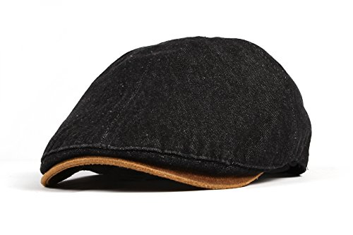 WITHMOONS Coppola Cappello Irish Gatsby Denim Newsboy Hat faux leather brim Flat Cap SL3017 (Black)