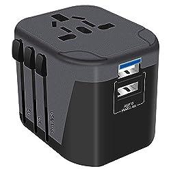 Reiseadapter Reisestecker Weltweit 224 Ländern Universal Travel Adapter 2 USB Ports + AC Stromadapter Aufladung International einsetzbar für Deutschland Europa USA Australian usw