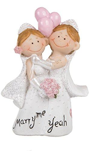 """Hochzeitspaar lesbisch - Figuren lustig - Hochzeitsfigur """"Weibliches Brautpaar Marry me Yeah"""" ~"""