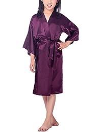 FY Niñas Unisex Kimono Robe Albornoz Ducha Bathrobe Seda De Imitación Camisón Ropa de Dormir Cumpleaños De Regalo Homewear Spa Fiesta Cumpleaños De Regalo