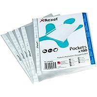 Rexel - Fundas perforadas de apertura superior (formato A5, lote de 100), transparente