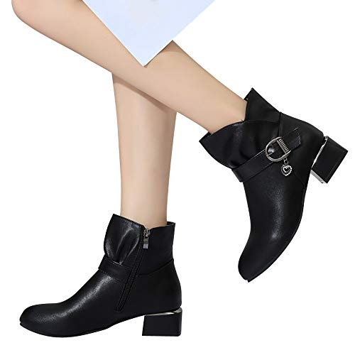 OSYARD Damen Lederstiefel Kurze Booties Stiefeletten Wasserdicht Gummistiefel, Frauen Hoher Absatz Schnalle Schuhe Reißverschluss Shoes Stiefel Ankle Boots(230/37, Schwarz)