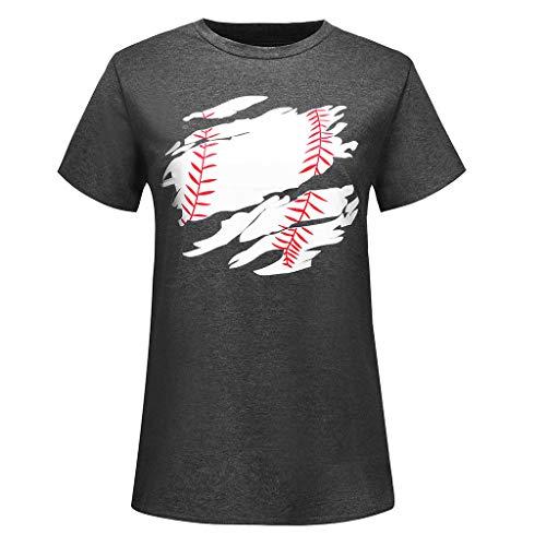 CAOQAO Lose BeiläUfige Weinlese Spitzen Damen Mode Kurzarm Baseball Print T-Shirt LäSsige T-Shirt Top Bluse
