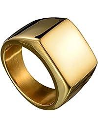 Amesii Anello quadrato semplice, alla moda, da uomo, ideale da indossare al dito anulare, a tinta unita, in acciaio inox