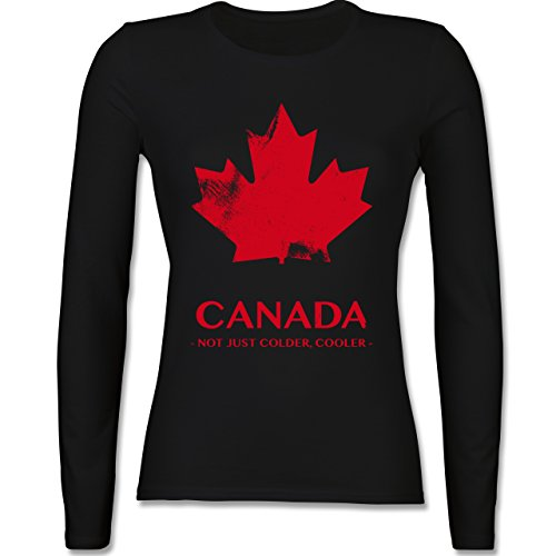 Shirtracer Länder - Canada Vintage Not Just Colder Cooler - Damen Langarmshirt Schwarz