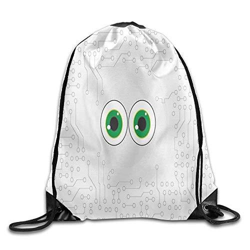 Etryrt Mochilas/Bolsas de Gimnasia,Bolsas de Cuerdas, Drawstring Backpack High-Tech Hardware Circuit Board Backdrop with Eye Forms Digital Drawstring Gym Sack Sport Bag for Men and Women