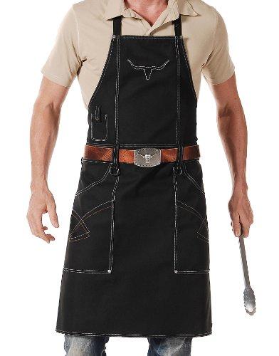 Grillschürze 'Longhorn' mit Ledergürtel von 'Grill-Cowboy', schwarz, Größe 1 (bis Konfektion 54)