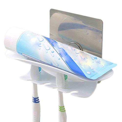 Einfach zu Befestigender Selbstklebender Zahnpasta Zahnbürstenhalter Wandmontierter Badaufbewahrungs Zahnbürsten Organisator, Rasierschaum und 4 Zahnbürsten / elektrische Zahnbürsten