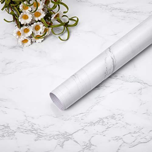Niviy carta da parati adesiva bianca grigia carta da contatto pellicola impermeabile in vinile adesivi da cucina in pvc bagno durevole scaffale mobili da banco tavolo da muro peel stick 45*200cm diy