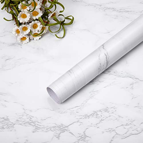 Niviy Carta da parati adesiva bianca grigia Carta da contatto Pellicola impermeabile vinile Adesivi da cucina PVC Bagno durevole Scaffale Mobili da