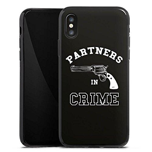 Apple iPhone X Silikon Hülle Case Schutzhülle Pistole Partner freundschaft Silikon Case schwarz