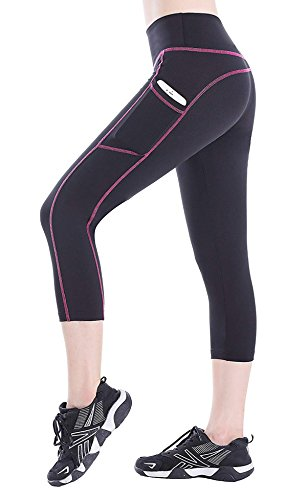 BLINKIN Yoga,Gym and Active Sports Fitness Black Capri Tights with Side Pockets for Women|Girls(Polyester Fabric)(015)(size-28)