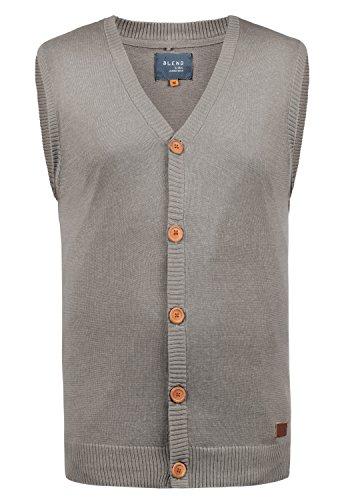 Blend Lennardo Herren Strickjacke Pullunder Cardigan Feinstrick Pulli Ärmellos mit V-Ausschnitt aus hochwertiger Baumwollmischung Meliert, Größe:S, Farbe:Zink Mix (70815)