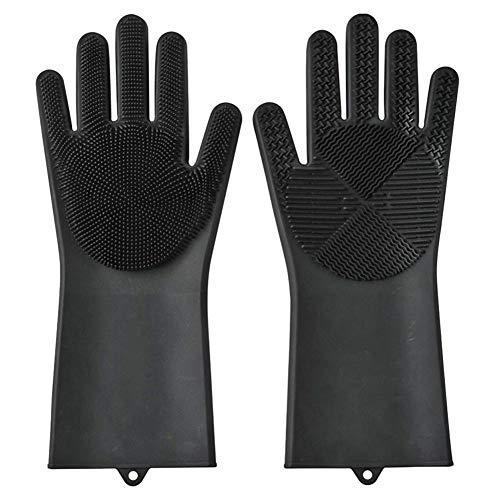 Vanpower Silicone Cleaning Gloves Household Dish Washing Mittens with Brush (Black) Black Snow Glove