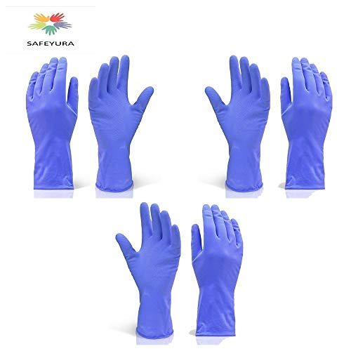 Safeyura House Hold Cleaning Rubber Hand Gloves, Kitchen,Washing Toilet Cleaning,Garden...