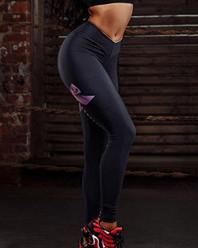 Pantaloni Da Fitness Donna Palestra Pantalone Yoga Leggins Stampa Leggings Nero Viola