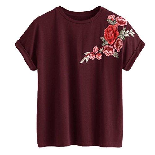 Blusen Damen Kolylong® Frauen Elegant Blumen Stickerei Kurzarm Bluse Lässige Rundhals T-shirt Sommer Casual Shirt Festlich Oberteile Hemden Tunika Sweatshirt Tank Tops (Wein, XL) -