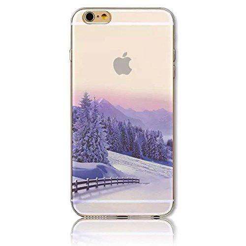 Sunroyal® 3D Case Cover Per Apple iPhone 6 6S (normale 4.7 pollici Schermo) Trasparente TPU Gel Silicone Bumper Protettivo Skin Custodia Ultra-sottile Flessibile Protettiva Shell - Ciliegia Modello 02