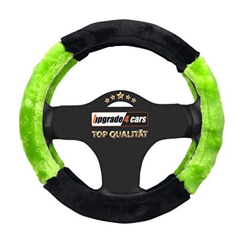 Upgrade4cars coprivolante auto universale verde & nero in peluche   copertura di volante diametro 37-39 cm   accessori auto interno   regali per donna e uomo   antiscivolo imbottito inodore