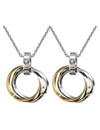 Aaishwarya Tri Rings Of Love Stainless Steel With CZ Golden Couple Pendant Necklace/Chain For Girls & Boys For...