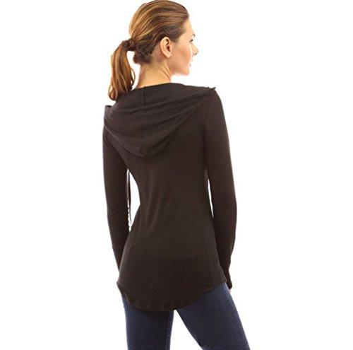 Sentao Femme Mode Sweats à Capuche Pull Hoodie Hauts Veste Sweatshirt Pullover Tops Manches Longues Jumper Noir