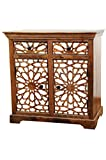 Orientalische Kommode Sideboard Rabat 90cm Braun Weiß | Orient Vintage Kommodenschrank orientalisch Handverziert | Indische Landhaus Anrichte aus Holz | Asiatische Möbel aus Indien