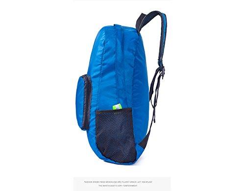 Ultra Leicht verstaubarer Rucksack wasserabweisend Wandern Tagesrucksack, klein Rucksack handlich faltbar Camping Outdoor Rucksack Little Tasche blau