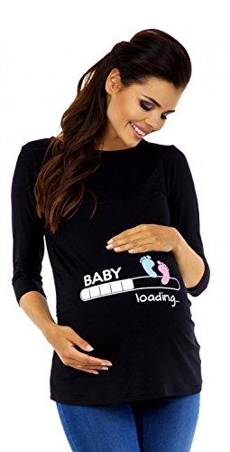 Zeta Ville - Damen Umstands-Oberteil Top T-Shirt witzige Baby Loading Druck 549c (Schwarz, EU 44/46)