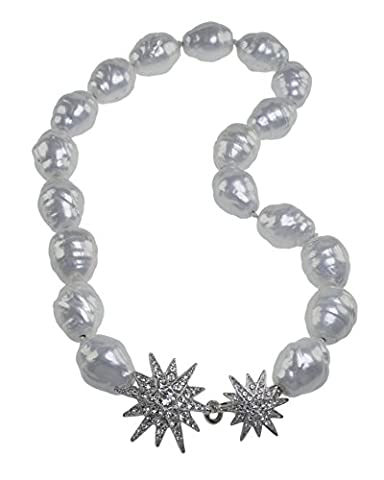 Kenneth Jay Lane Women's Silver Plated Round White Baroque Pearls Silver Crystal Starburst Clasp of Length 91.44cm