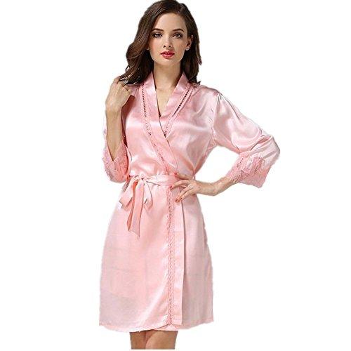 DMMSS Damen Neue Nacht Rock Seide Seide Pyjama Luxus Mode Seide Kleider Seide Haus Kleidung (Single) , 165 (L) , Black