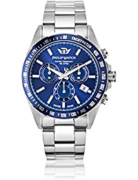 Philip Caribe Men's Quartz Watch with Blue Dial Analogue Display and Silver Stainless Steel Strap R8273607005