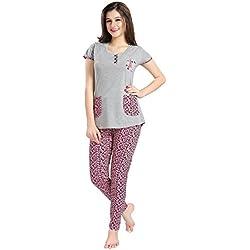 AV2 Women Cotton Top & Pyjama Nightwear / Loungewear Set