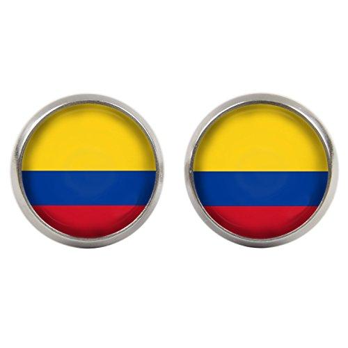 Ohrstecker - Cabochons - Kolumbien Flagge - WM 2018 - versilberte Fassung 14mm - Handgemacht