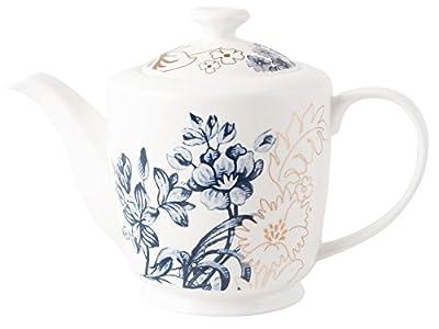 V&A Palmers Soie en Porcelaine Fine Théière 6Tasses, Céramique, Blanc, 6 Tasses