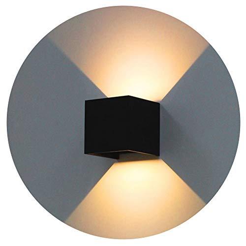 K-Bright 12W Wandleuchte Warmweiß Led Innen Außen Badezimmer Wandstrahler/Wandlampe / Wandbeleuchtung für Schlafzimmer, Wohnzimmer,IP65,Schwarz