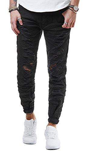 EightyFive Herren Jeans Hose Slim Fit Distressed Destroyed Schwarz Weiß EF516, Farbe:Schwarz, Hosengröße:W32, Schrittlänge:L32 (Schrittlänge Herren Jeans)