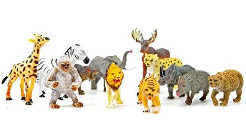 Nerd Clear Tier-Figuren Wild-Tiere Wüsten-Tiere Steppen-Tiere Zoo-Tiere Löwe Tiger Elefant Giraffe Zebra Nashorn Miniatur-Figuren Spielzeug-Set Kunststoff 6 Stück